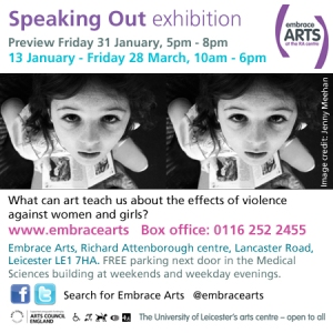 An advert was placed in an.co.uk to promote the Speaking Out exhibition at Embrace Arts